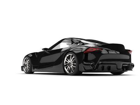 Subtle black modern luxury sports car - tail view
