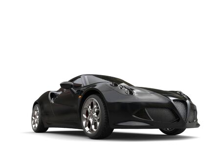 Black luxury sports car - low angle front view