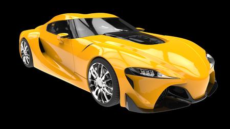 Maximales gelbes, auffallendes modernes Sportwagen-3d Standard-Bild - 82546545