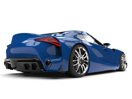 Beautiful cerulean blue modern super sports car - back view low angle shot Banco de Imagens