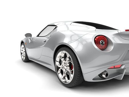 明るいシルバーの高級スポーツカー - 尾光クローズ アップ ショット