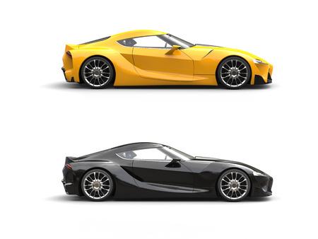 Autos súper deportivos modernos - amarillo y negro Foto de archivo - 82546499