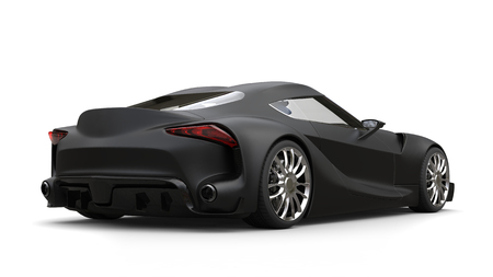 chrome: Mean matte black super sports car - back view