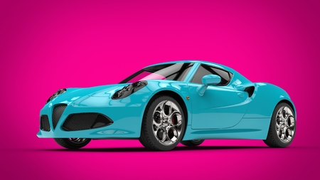 car speed: Cool teal modern sports car on bright pink background