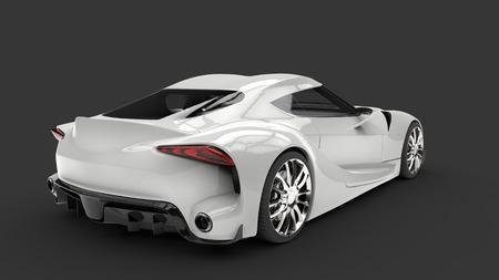 chrome: Ivory white modern sports car - top tail view