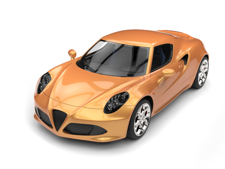 rim: Metallic gold luxury sports car - top down view Stock Photo