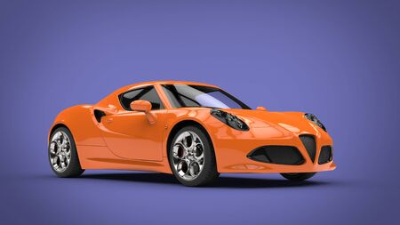 Cool orange sports car - purple background-3d