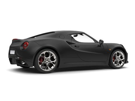 rim: Superb matte black sports car - side view Stock Photo