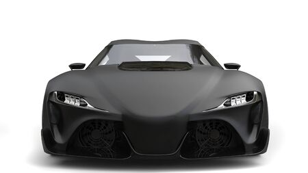 car speed: Sublime matte black super sports car - front view closeup shot