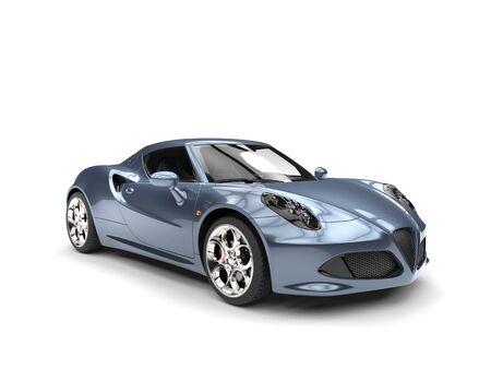 Glinsterende grijsblauwe sportwagen - studioschot