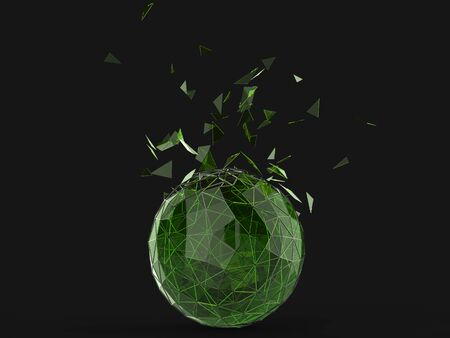 Green glass shattering low poly sphere Stock Photo