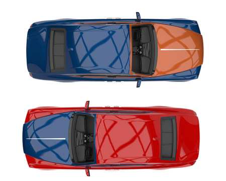 Blue metallic modern luxury business car - top side view Stock Photo