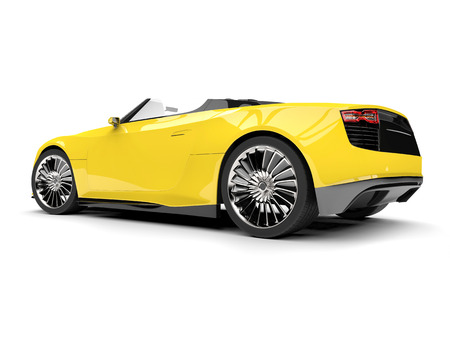 Bright yellow modern super sports car - tail view