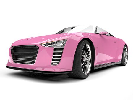 Pretty pink modern cabriolet sports car - low angle front view Banco de Imagens