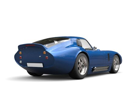 Catalina blue vintage sports car - tail view