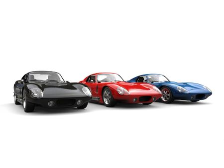 Amazing black, red and blue vintage sports cars