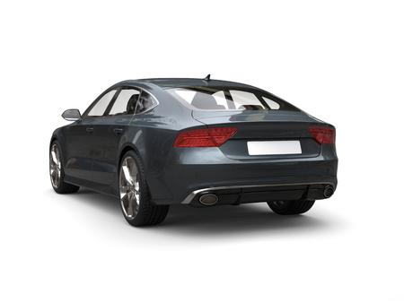 Dark slate gray modern business car - studio shot - tail view