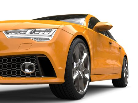 Cadmium yellow modern business car - low angle front view cut shot