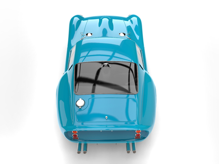 restored: Subtle turquoise vintage sports car - top view