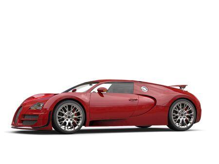 Dark fire red modern super sports car - studio shot Stock Photo