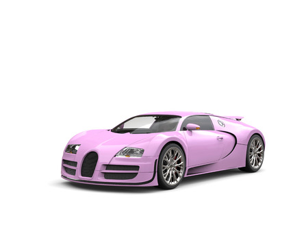 Flamingo pink modern super sports car - studio shot Stock Photo