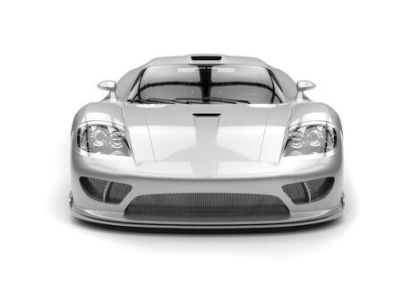 Shining silver modern super sports car - front view