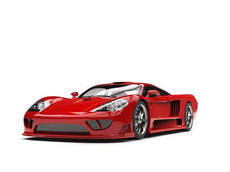 燃えるような赤のモダンなスーパー レース車 - 美しさのショット 写真素材