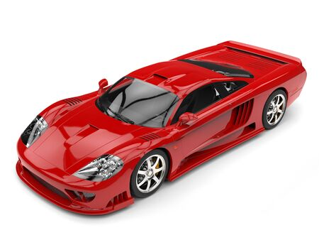 Fiery red modern super race car - top beauty shot Stock Photo