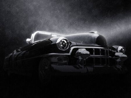 Awesome vintage black car - neo noir style