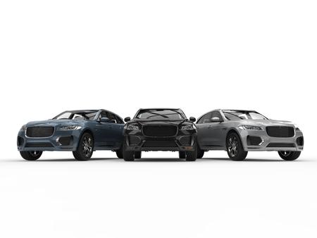 Moderner Metallic-Solver, blaue und schwarze 4x4-SUVs - nebeneinander Standard-Bild - 87176278