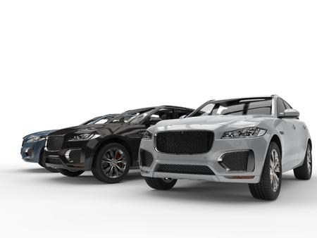 Moderne metallische SUVs - konzentrieren Sie sich auf silbernes SUV Standard-Bild - 87176286