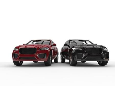 Rote und schwarze moderne SUV nebeneinander Standard-Bild - 87176307