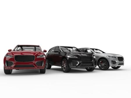 Rote, schwarze und weiße moderne SUVs Standard-Bild - 87176315