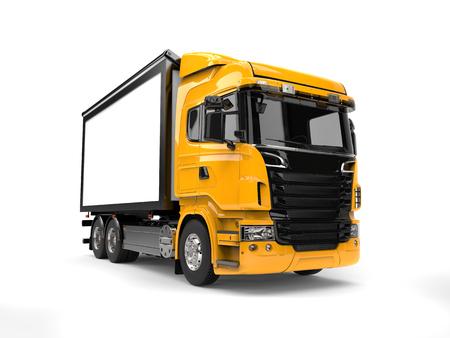 heavy industry: Yellow modern heavy transport truck