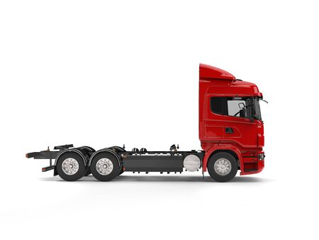 semitruck: Modern red heavy transport truck without a trailer Stock Photo