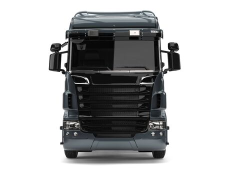 heavy industry: Modern metallic gray heavy transport truck without a trailer - front view