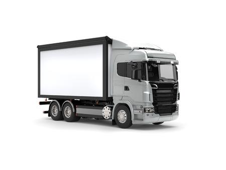 heavy industry: Silver modern heavy transport truck - studio shot