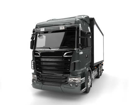 heavy industry: Metallic dark gray modern heavy transport truck