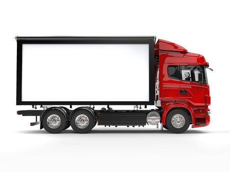 Red modern heavy transport truck - side view Stock Photo