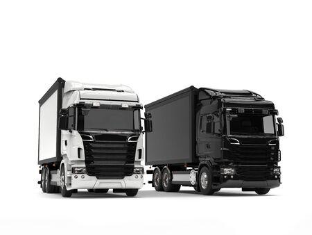 heavy industry: Black and white modern heavy transport trucks - beauty shot