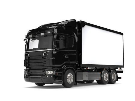 heavy industry: Black modern heavy transport truck - studio shot
