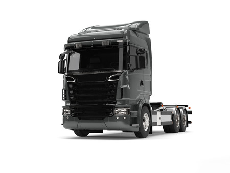 Modern metallic dark gray heavy transport truck without a trailer Stock Photo