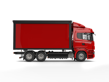 heavy industry: Modern red heavy transport trucks with red trailer Stock Photo