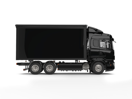 Modern black heavy transport trucks with black trailer