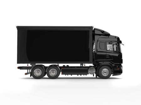 Modern black heavy transport trucks with black trailer Imagens - 87480817