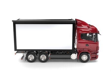 Dark red modern medium transport truck Stock Photo