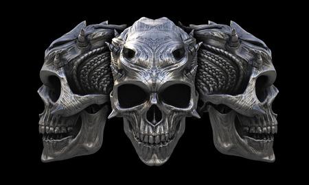 Heavy metal horned demon skulls Stock Photo