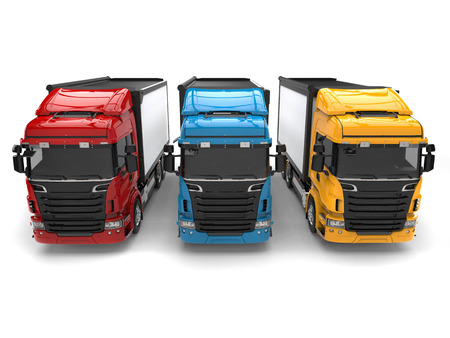 Red, blue and yellow modern transport trucks - front view