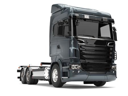 Modern dark gray blue heavy transport truck without a trailer