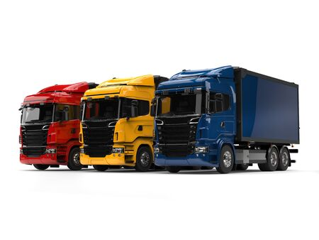 heavy industry: Heavy transport trucks - red, blue and yellow - beauty shot